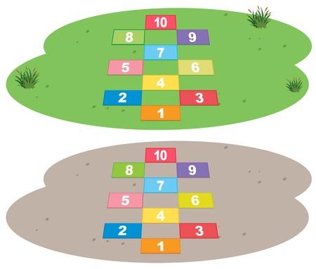 Set of hopscotch game illustration