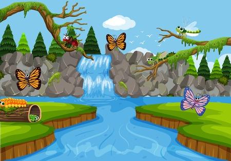 Insectos en la ilustración de la escena de la cascada Ilustración de vector