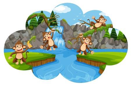 Set of monkeys in nature scene illustration Illustration