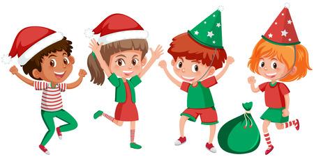 Set of happy children christmas outfits illustration Stockfoto - 110045861