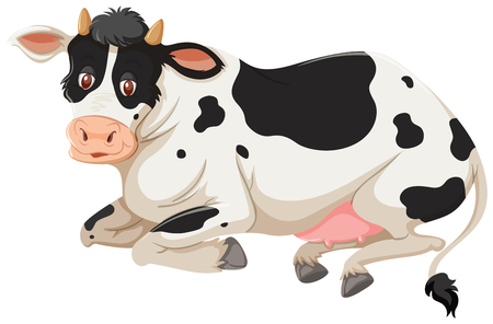 Happy cow laying down isolated on a white background. Vector illustration