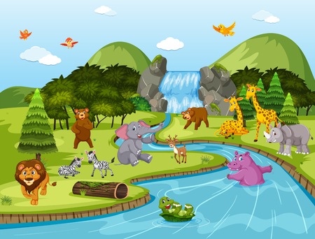 Animals in waterfall scene illustration Illustration