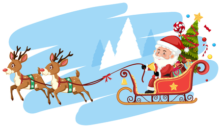 Santa claus riding sleigh template illustration