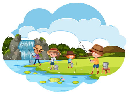People fishing next to the river illustration