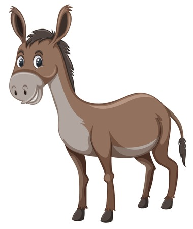 A donkey on white background illustration