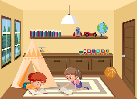 Children playing in playroom illustration