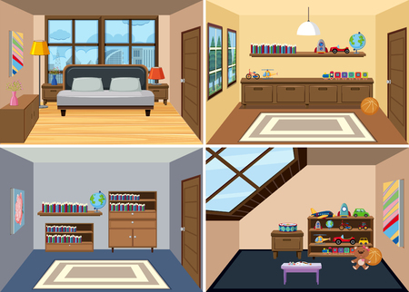 A set of room interior background illustration Ilustracja
