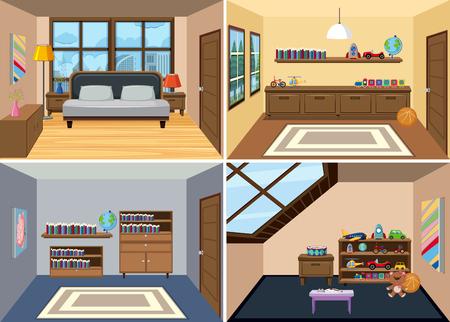 Un ensemble d'illustration de fond intérieur de chambre