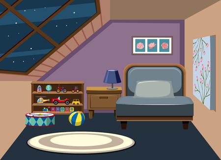 Interno della mansarda illustrazione camera da letto