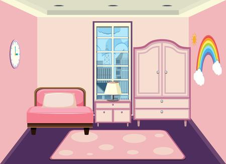 Wnętrze ilustracji sypialni dziewczynki