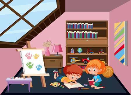 Children plating toy at attic room illustration