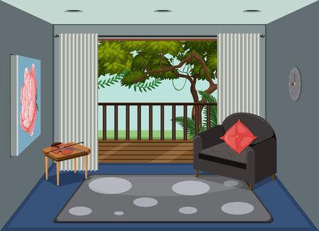 Una sala de estar con ilustración de vista de la naturaleza. Ilustración de vector