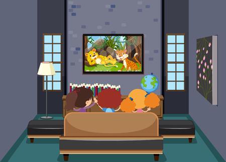 Kinderen tv kijken in de woonkamer illustratie Vector Illustratie