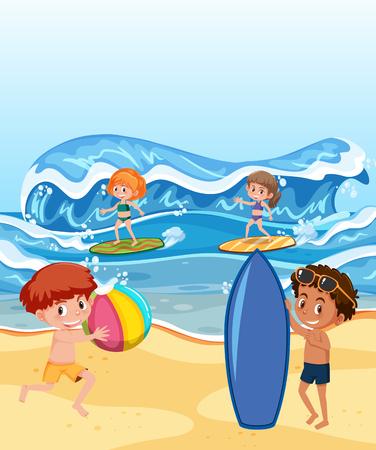Gens à la plage en illustration de vacances d'été
