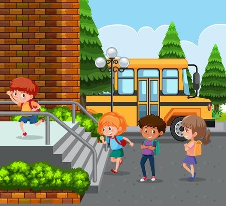 学生はバスのイラストで学校に到着します
