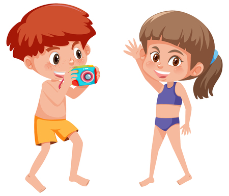 Children taking picture on summer holiday illustration