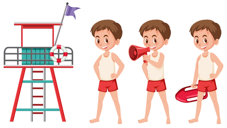 Lifeguard chair and lifeguard on white background illustration