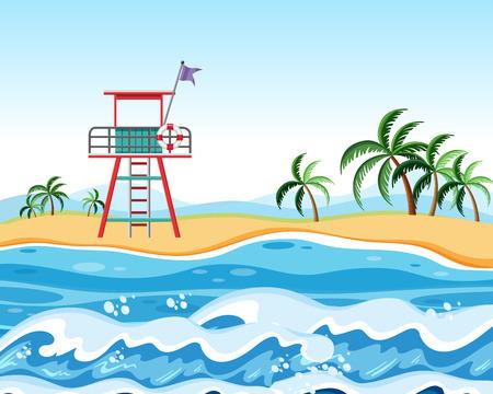 Lifeguard at the beach scene illustration
