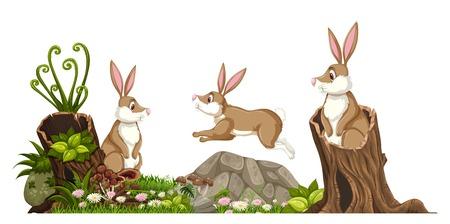 Rabbit in nature landscape illustration