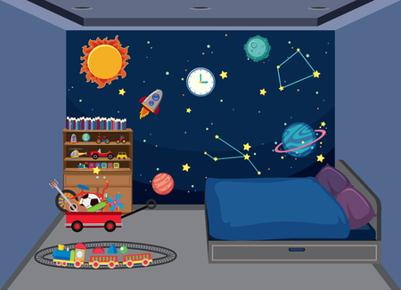 Bedroom with space decoration illustration