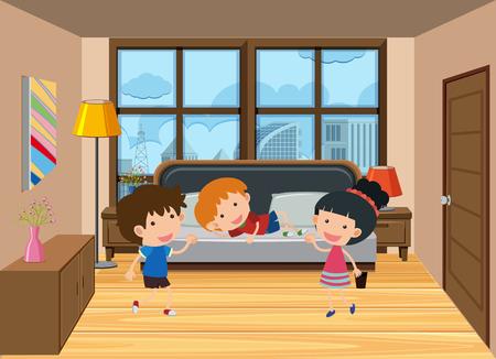 Flat kid in the bedroom illustration