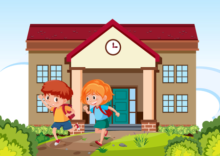 Children going to school illustration