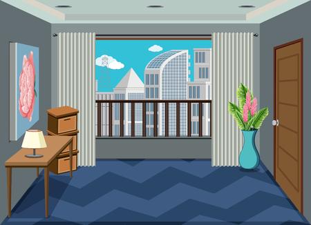 Un intérieur de l & # 39; illustration de la chambre d & # 39; appartement