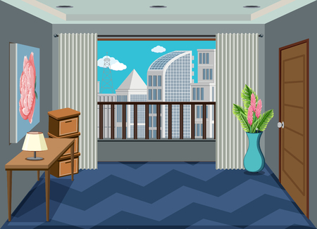 Un interno dell'illustrazione della stanza dell'appartamento