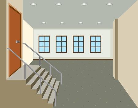 A flat indoor hallway illustration Illustration