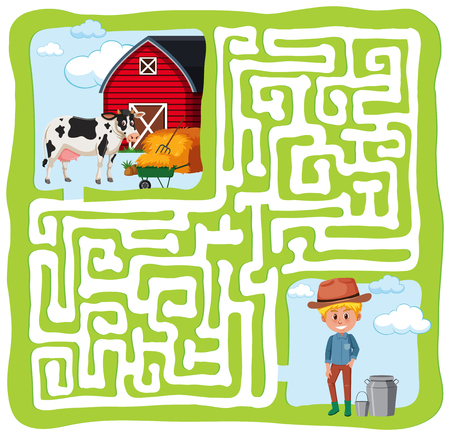 farm maze fun concpt illustration Illustration