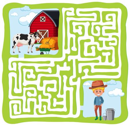 illustration de concpt amusant de labyrinthe de ferme Vecteurs