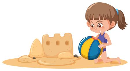 Girl build sand castle illustration