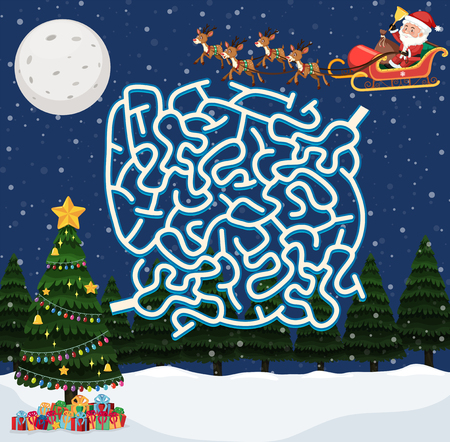Santa claus maze game template illustration Stock Illustratie