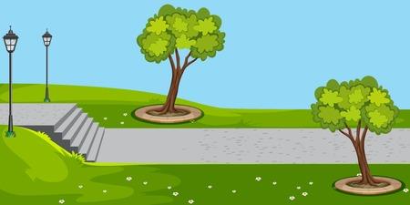 A green garden background illustration