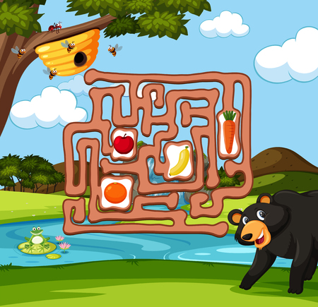 Bear finding bee maze game illustration