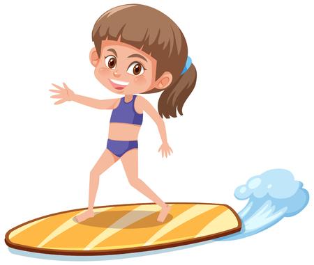 girl surfing on surfboard illustration
