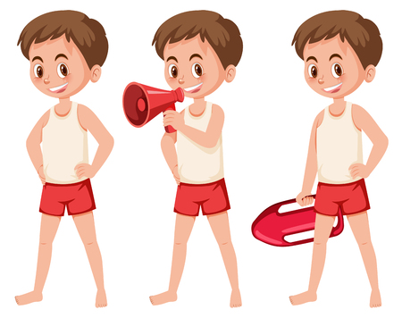Set of lifeguard figures illustration