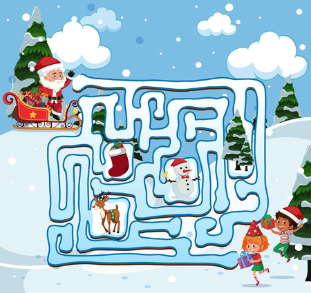 Santa find the way  illustration