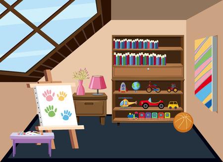 Interior of a childrens playroom illustration