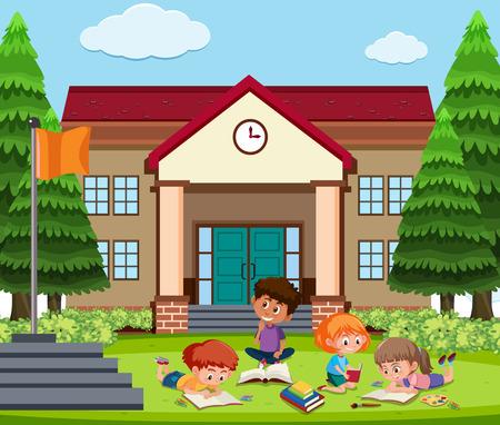 Student learning outside school illustration