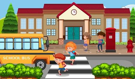 los estudiantes que van a la escuela entre la ilustración de autobús