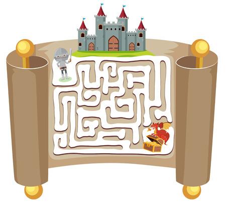 Knight maze puzzle game template illustration Illustration