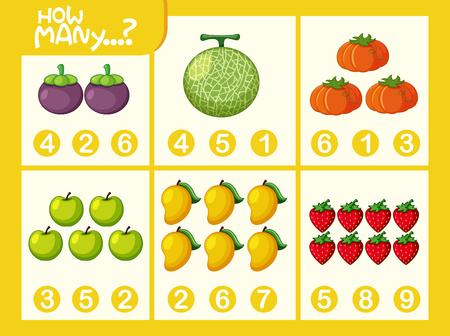Fruit math number worksheet illustration
