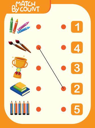 Matching number worksheet template illustration