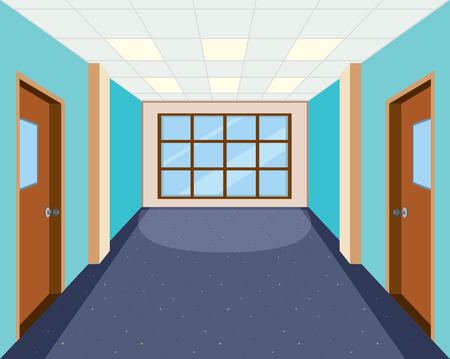 Interior of empty hallway illustration