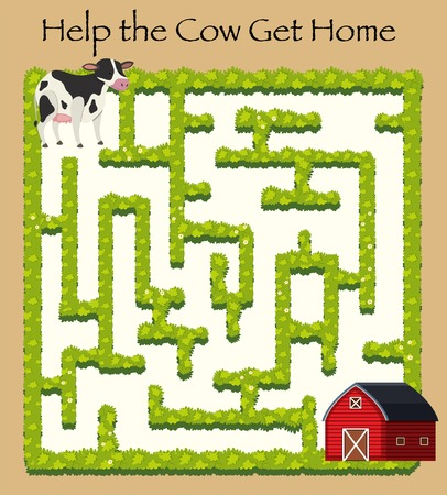 Cow going home maze game illustration Иллюстрация