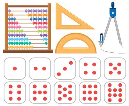 Set of mathematics equipments illustration