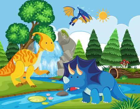 Flat dinosaur in nature illustration