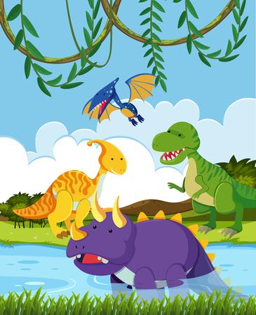 Group of dinosaur in nature illustration Illustration