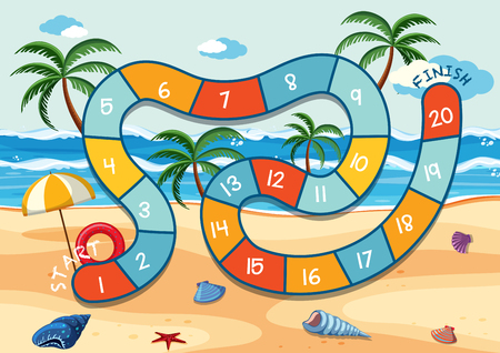 Summer beach board game template illustration 矢量图像